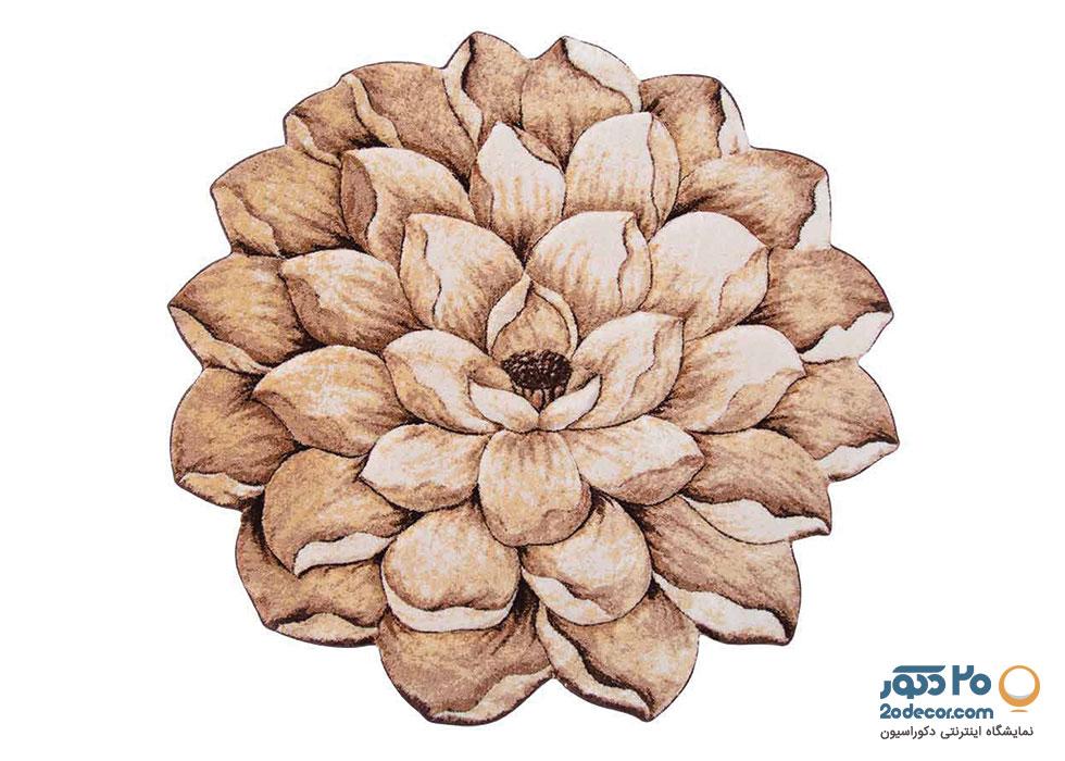فرش سه بعدی گرد زرباف طرح گل  نیلوفر
