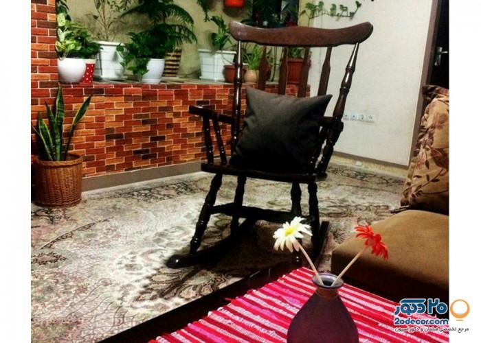 صندلی گهواره ای آمازون چوب مدل تاج ساده فندوقی