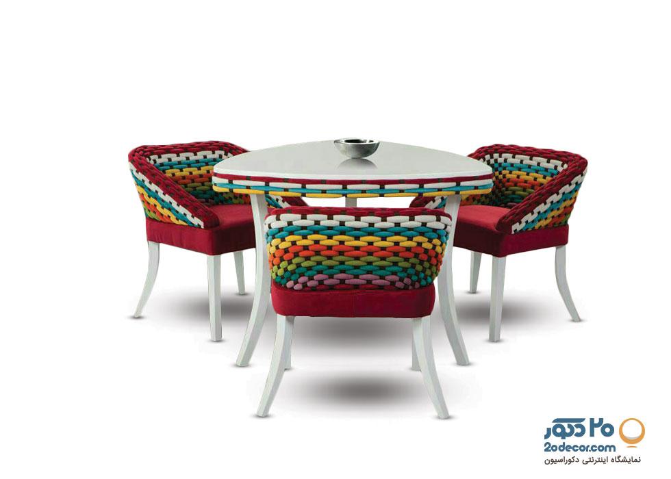 میز ناهار خوری سه نفره بافت پارچه مازراتی مدل طاووس گالری علی