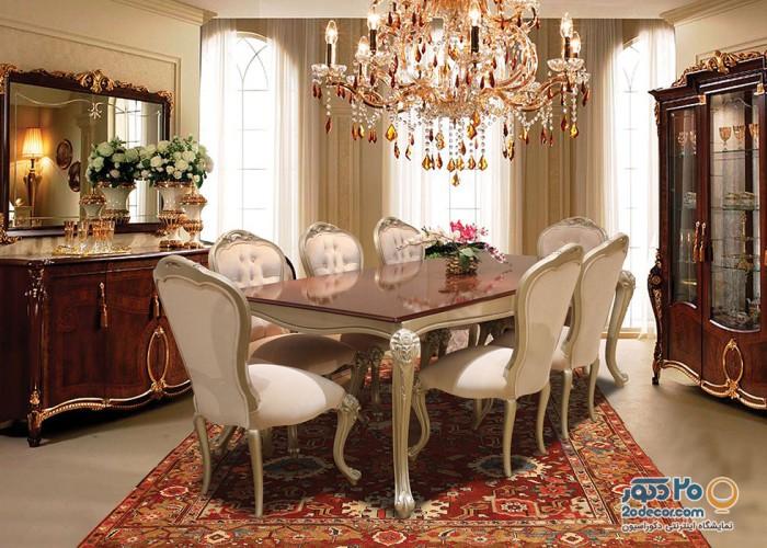 مبل نیو کلاسیک مدل ونتورا شرکت ونس با ناهار خوری هشت نفره