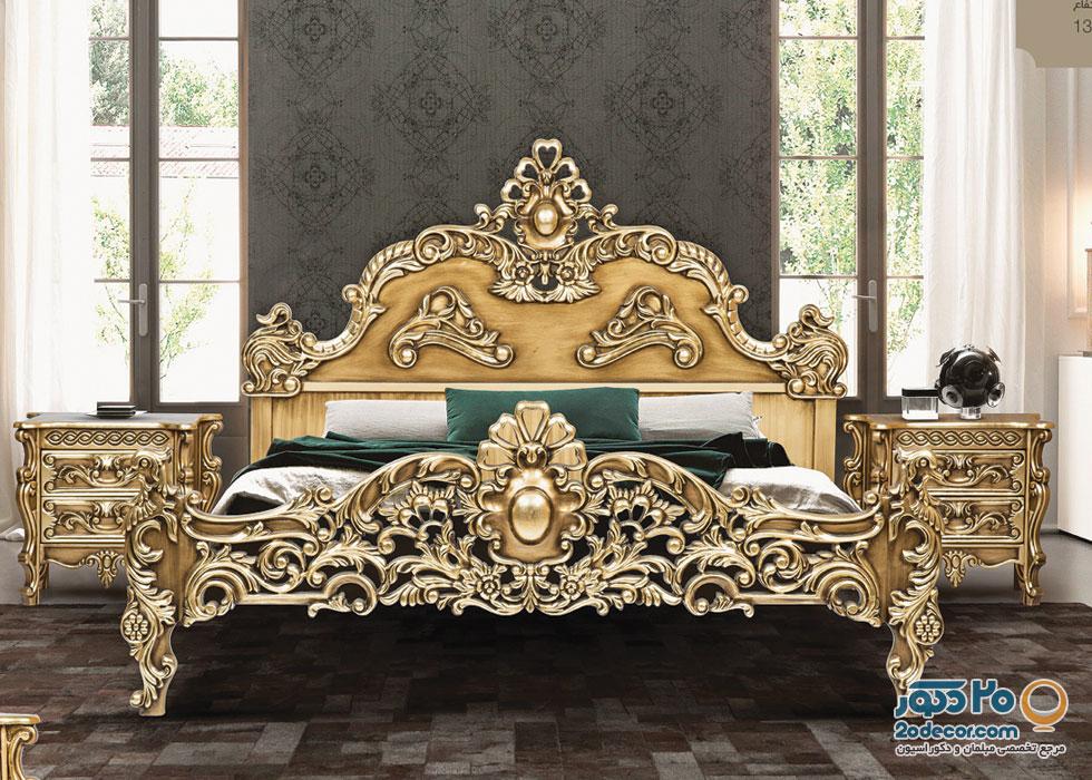 تخت خواب تمام چوب مدل نگین تولیدی قنبری