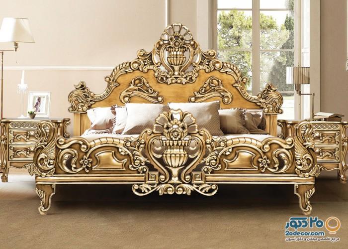 سرویس خواب تمام چوب رومانس مدل گلدونی