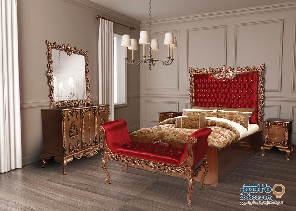 سرویس خواب تمام چوب حامد مدل پرنس طلایی خش