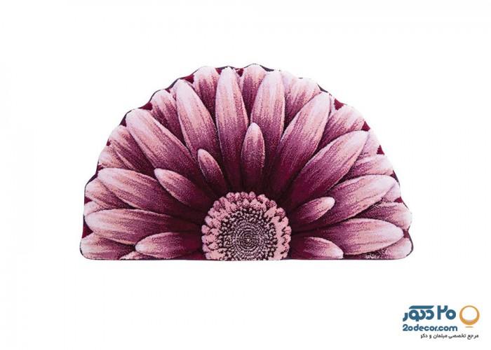 فرش سه بعدی زرباف طرح گل داوودی نیم دایره