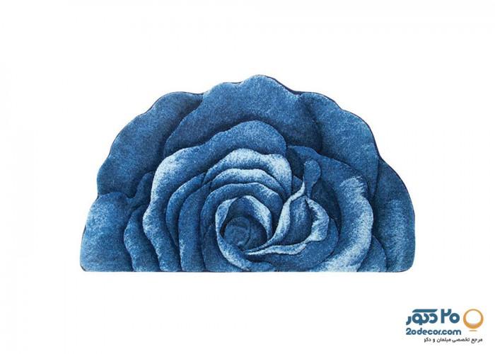 فرش سه بعدی زرباف طرح گل رز نیم دایره
