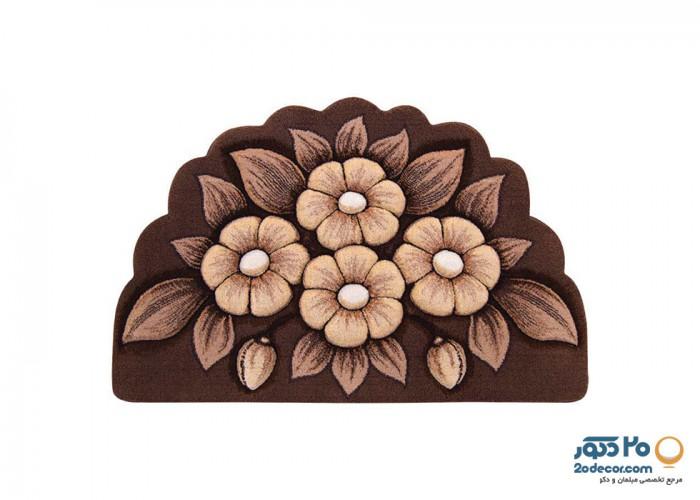 فرش سه بعدی زرباف طرح گل اطلسی  نیم دایره