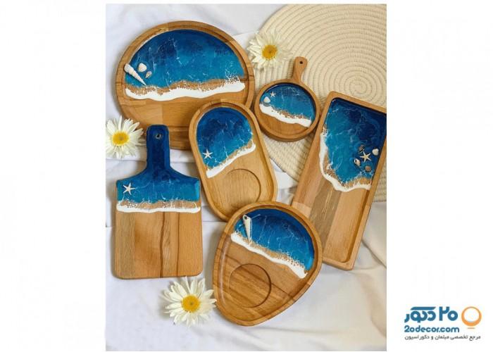 ست ظروف چوبی دنیز طرح دریایی