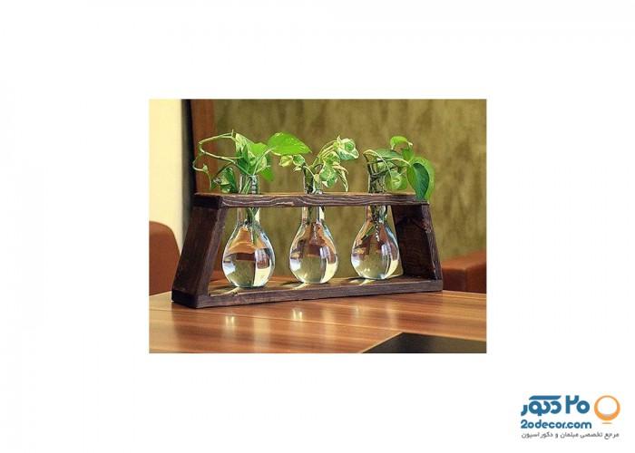 تابلو گیاهی چوبی فندی  مدل لامپی