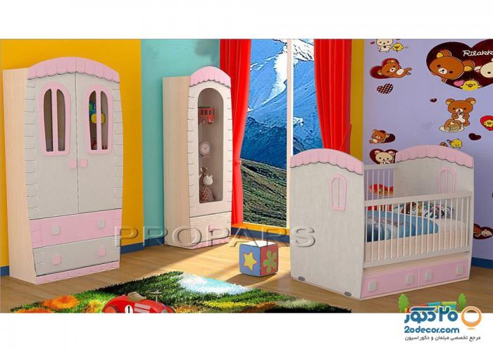 سرویس خواب کودک لنیا مدل کلبه دو منظوره